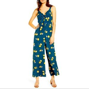 All In Favor Floral Print Tie Front Jumpsuit Navy
